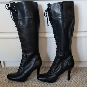 NINE WEST Black Leather Lace Up Long Boots Size 7